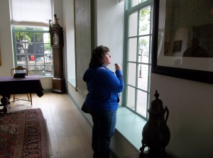 Brenda Looking Out the window of the Hermitage in Amsterdam